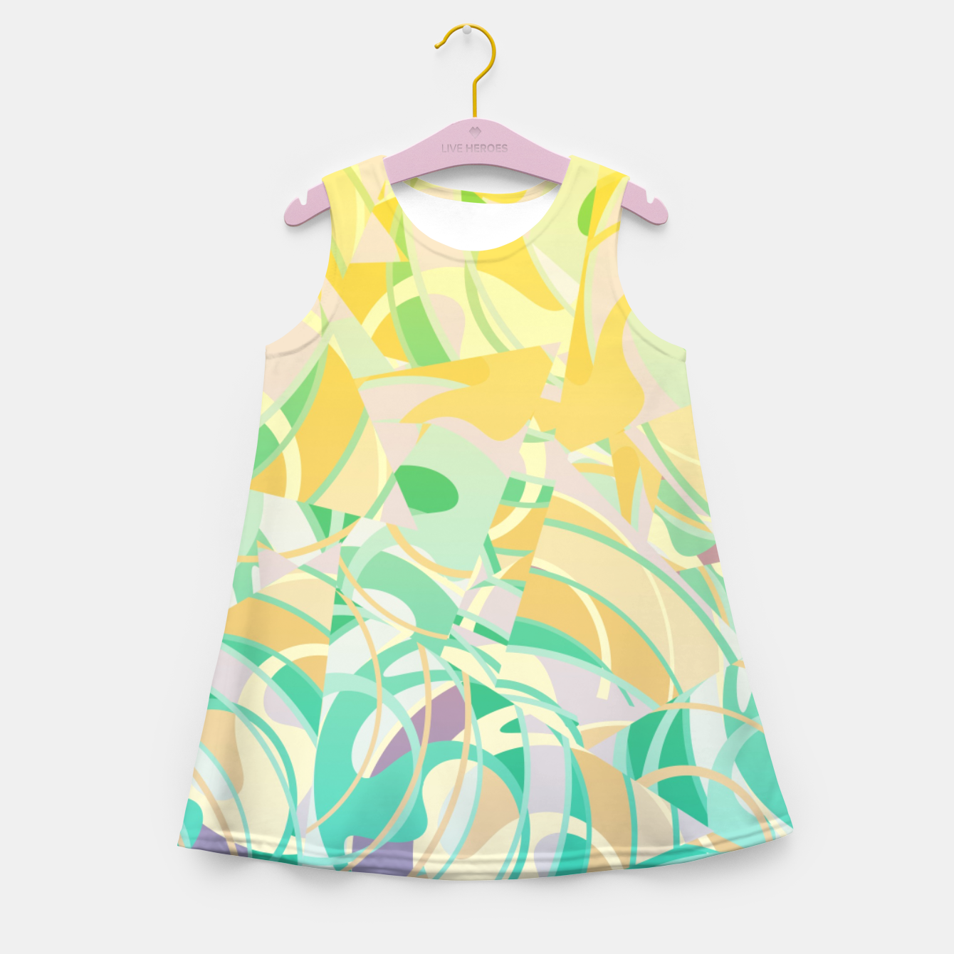 Image of Summer Beach Days Abstract - Yellows And Blues Girl's summer dress - Live Heroes