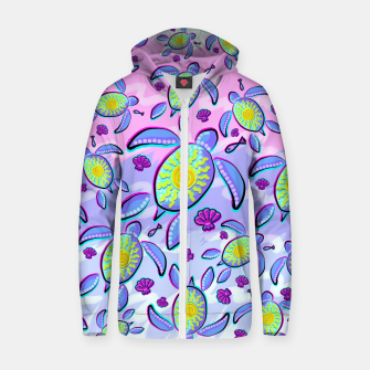 Thumbnail image of Sea Turtle and Sun Abstract Glitch Ultraviolet Symbol Cotton zip up hoodie, Live Heroes