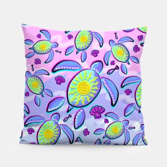 Sea Turtle and Sun Abstract Glitch Ultraviolet Symbol Pillow thumbnail image