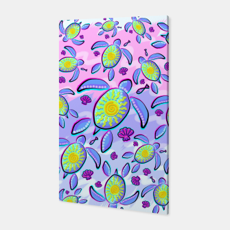 Sea Turtle and Sun Abstract Glitch Ultraviolet Symbol Canvas thumbnail image