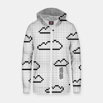 Thumbnail image of We Dream in Pixels Cotton zip up hoodie, Live Heroes