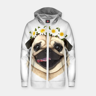 Miniaturka Pug Cotton zip up hoodie, Live Heroes