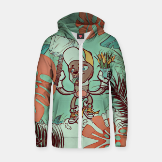 Thumbnail image of Hammer and Flowers Cotton zip up hoodie, Live Heroes