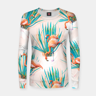 Thumbnail image of Anaglyph Flamingos with cactus Sudadera de algodón para mujer, Live Heroes