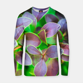 Vibrant green and purple leaves Cotton sweater thumbnail image