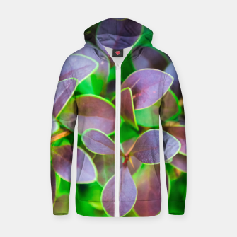 Miniaturka Vibrant green and purple leaves Cotton zip up hoodie, Live Heroes