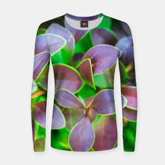 Vibrant green and purple leaves Woman cotton sweater thumbnail image