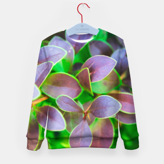 Vibrant green and purple leaves Kid's sweater thumbnail image