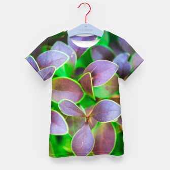 Thumbnail image of Vibrant green and purple leaves Kid's t-shirt, Live Heroes