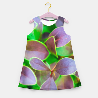 Vibrant green and purple leaves Girl's summer dress thumbnail image