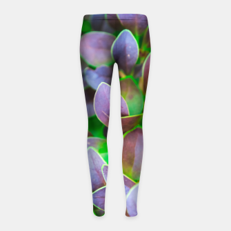 Thumbnail image of Vibrant green and purple leaves Girl's leggings, Live Heroes
