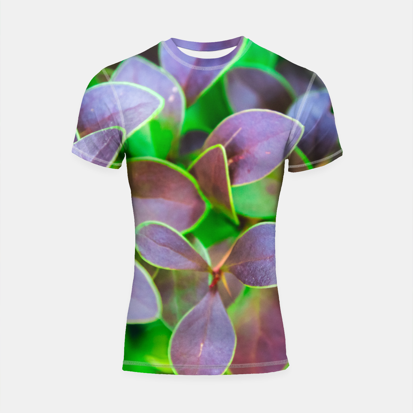 Image of Vibrant green and purple leaves Shortsleeve rashguard - Live Heroes