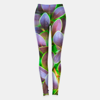 Vibrant green and purple leaves Leggings thumbnail image