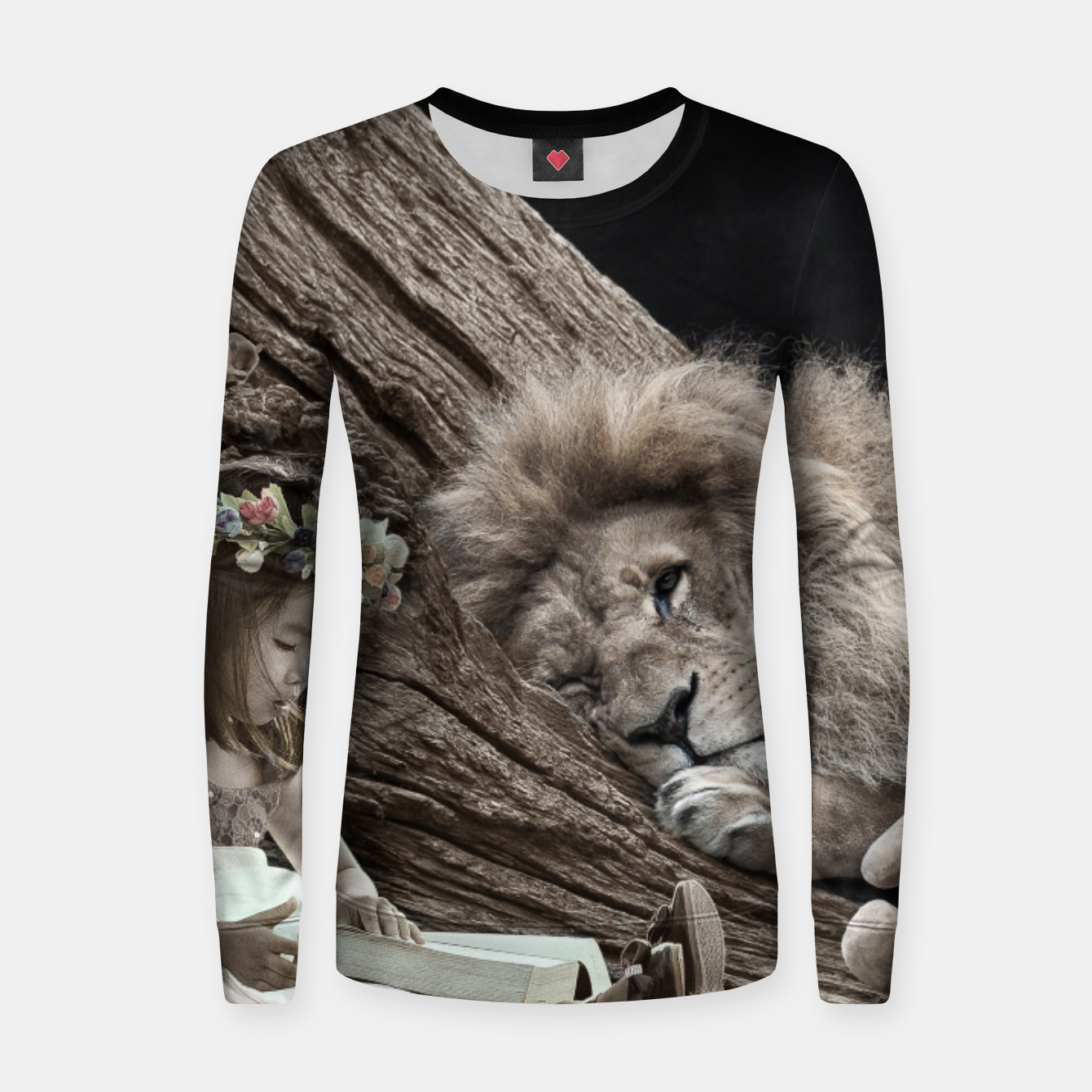 ab8d235f7 Girl and The Lion - Fantasy Fairy Tales Woman cotton sweater