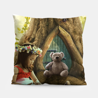 Thumbnail image of The Teddy Bear - Fantasy Fairy Tales Pillow, Live Heroes