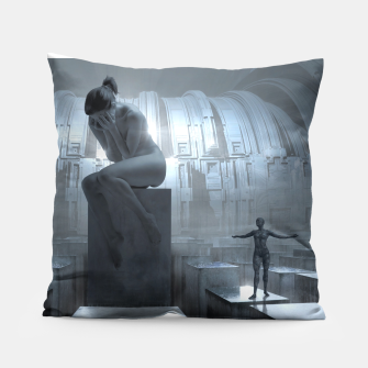 The Sad Statue - Fantasy Fairy Tales Pillow thumbnail image