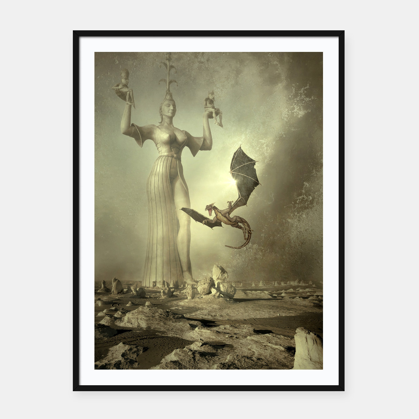 Image of The Mother of Dragons - Fantasy Fairy Tales Framed poster - Live Heroes
