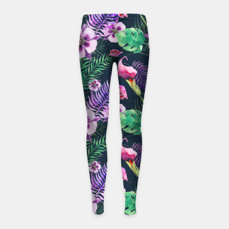 Thumbnail image of tropical floral palm leaves Girl's leggings, Live Heroes