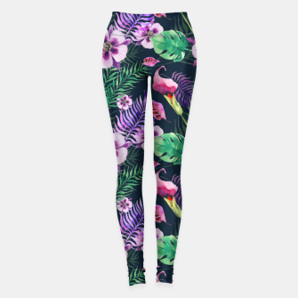 Thumbnail image of tropical floral palm leaves Leggings, Live Heroes