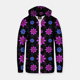 Thumbnail image of Stylized Dark Floral Pattern Cotton zip up hoodie, Live Heroes
