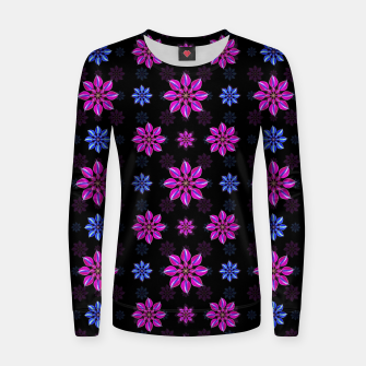 Thumbnail image of Stylized Dark Floral Pattern Woman cotton sweater, Live Heroes