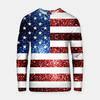 Thumbnail image of USA flag red blue sparkles glitters Cotton sweater, Live Heroes