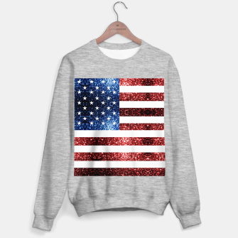 Thumbnail image of USA flag red blue sparkles glitters Sweater regular, Live Heroes