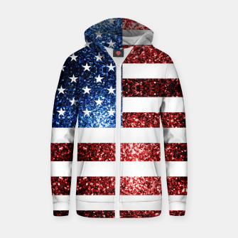 Thumbnail image of USA flag red blue sparkles glitters Cotton zip up hoodie, Live Heroes