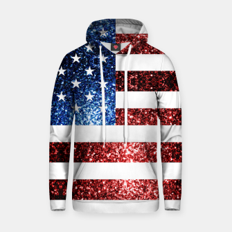 Thumbnail image of USA flag red blue sparkles glitters Cotton hoodie, Live Heroes