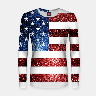 Thumbnail image of USA flag red blue sparkles glitters Woman cotton sweater, Live Heroes