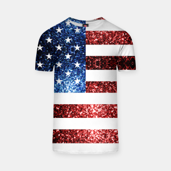 Thumbnail image of USA flag red blue sparkles glitters T-shirt, Live Heroes