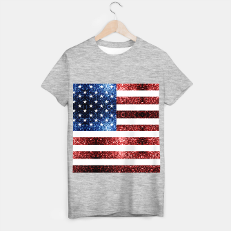 Thumbnail image of USA flag red blue sparkles glitters T-shirt regular, Live Heroes