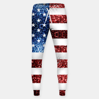 Thumbnail image of USA flag red blue sparkles glitters Cotton sweatpants, Live Heroes