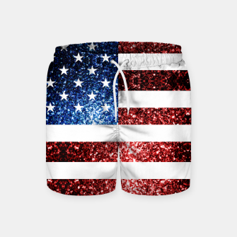 Thumbnail image of USA flag red blue sparkles glitters Swim Shorts, Live Heroes