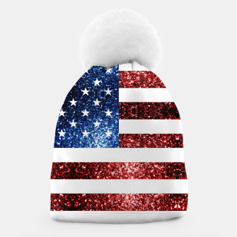 Thumbnail image of USA flag red blue sparkles glitters Beanie, Live Heroes