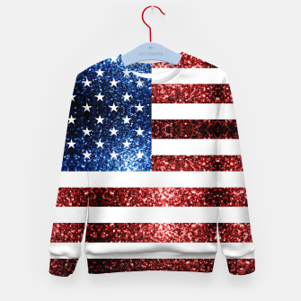 Thumbnail image of USA flag red blue sparkles glitters Kid's sweater, Live Heroes