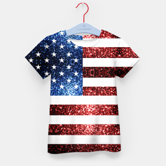 Thumbnail image of USA flag red blue sparkles glitters Kid's t-shirt, Live Heroes