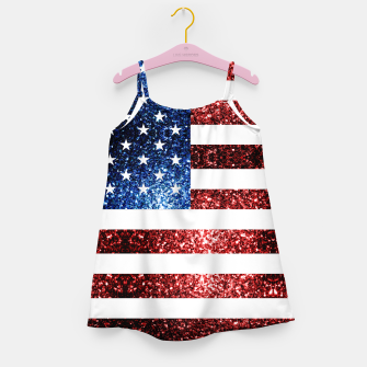 Thumbnail image of USA flag red blue sparkles glitters Girl's dress, Live Heroes