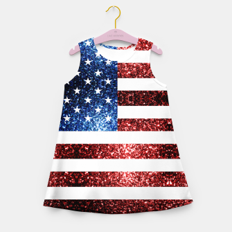 Thumbnail image of USA flag red blue sparkles glitters Girl's summer dress, Live Heroes