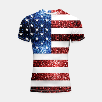 Thumbnail image of USA flag red blue sparkles glitters Shortsleeve rashguard, Live Heroes