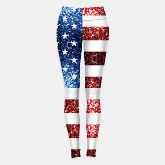 Thumbnail image of USA flag red blue sparkles glitters Leggings, Live Heroes