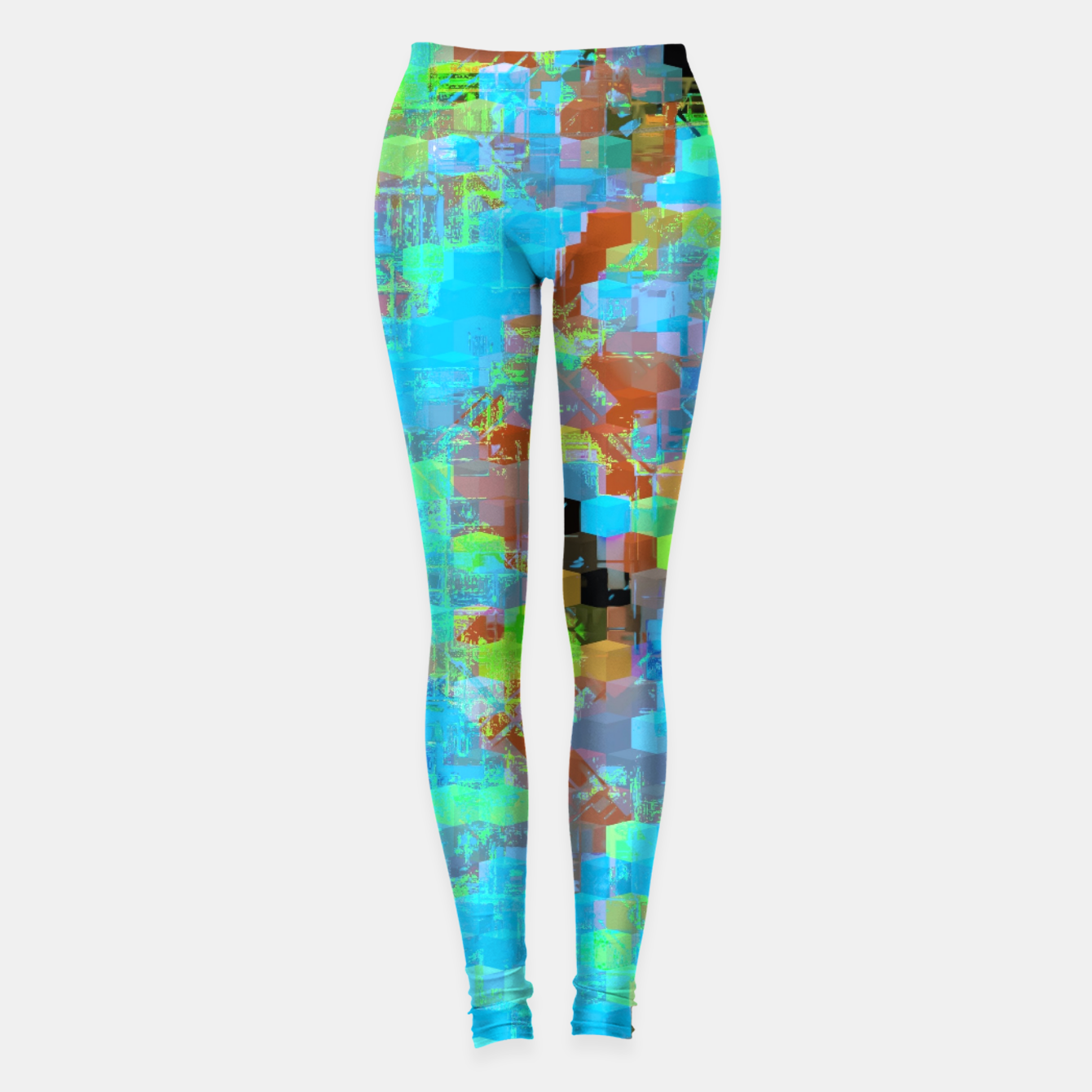 9636c866c1372 psychedelic geometric square pattern abstract background in blue brown  green Leggings, Live Heroes