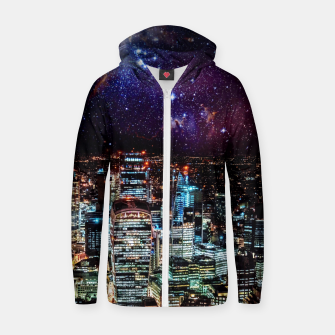 Thumbnail image of City Nights Cotton zip up hoodie, Live Heroes