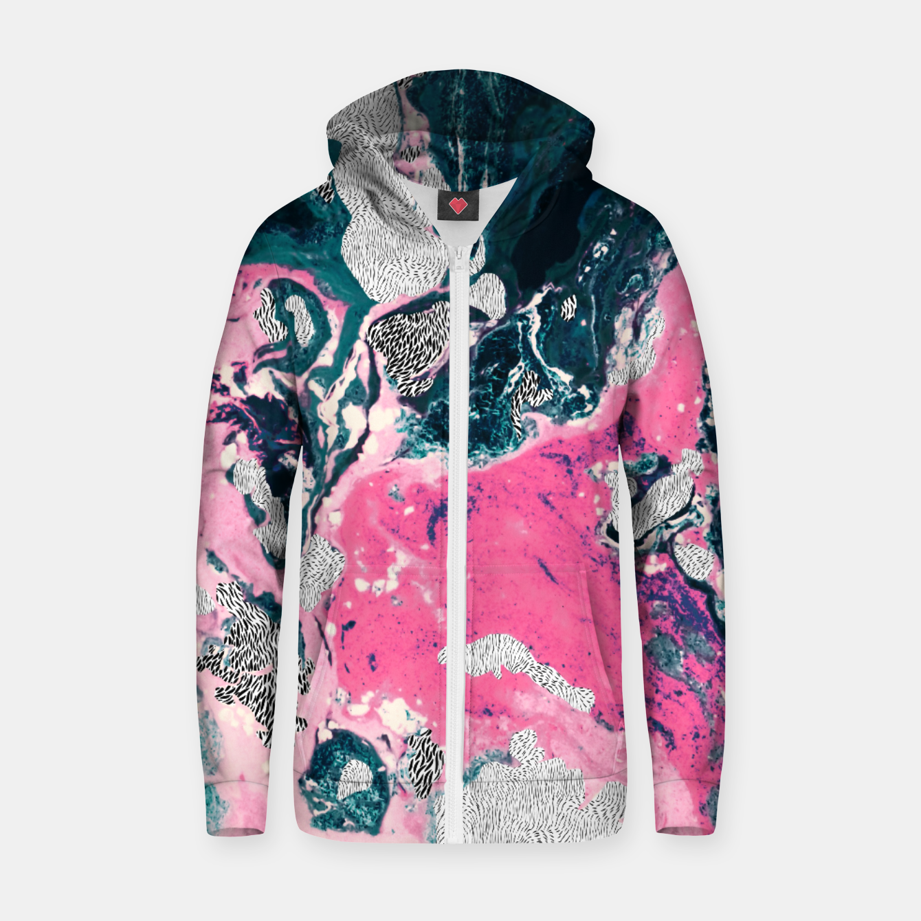 Image of Marble mosaic with patterned patterns 02 Sudadera con capucha y cremallera de algodón  - Live Heroes