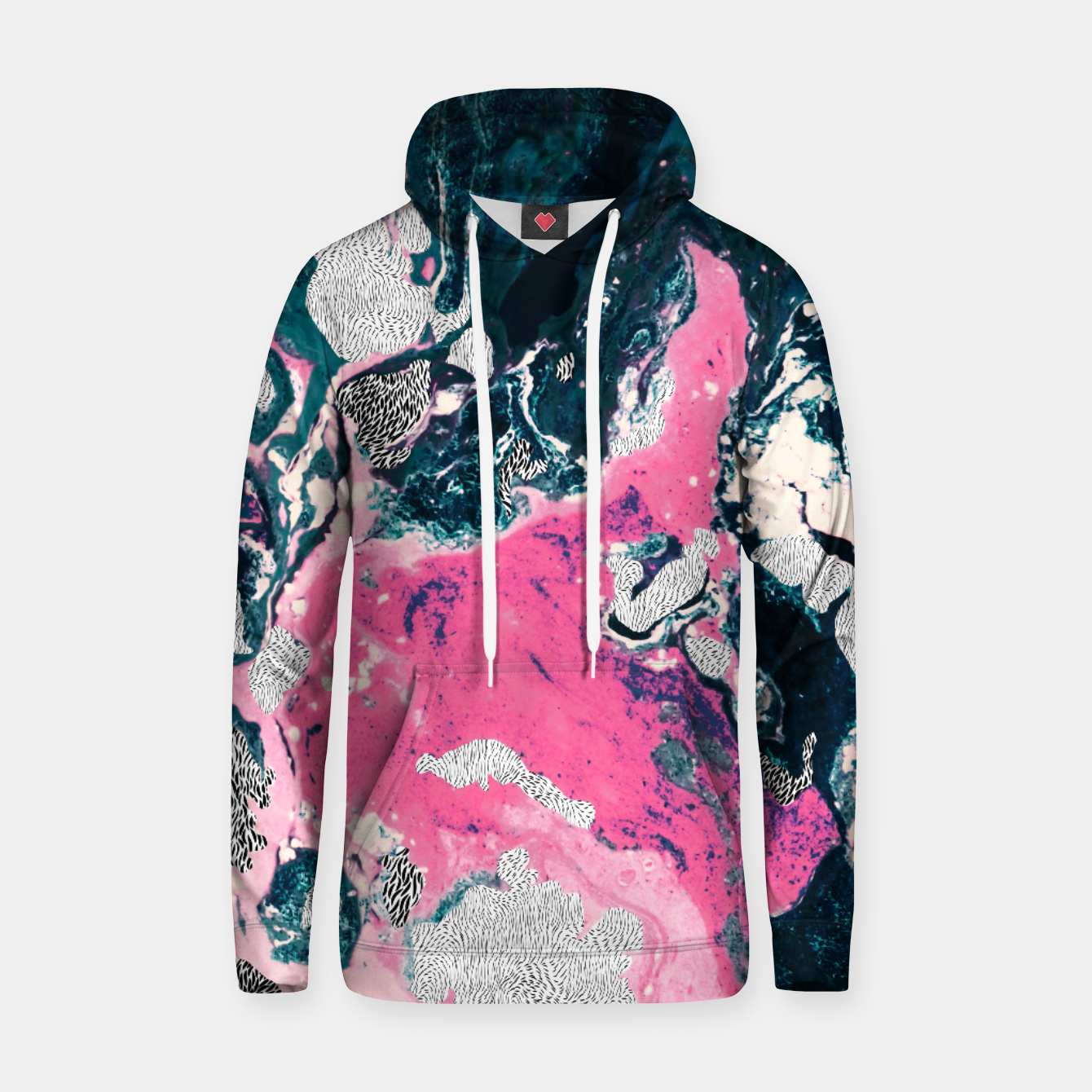 Image of Marble mosaic with patterned patterns 02 Sudadera con capucha de algodón - Live Heroes