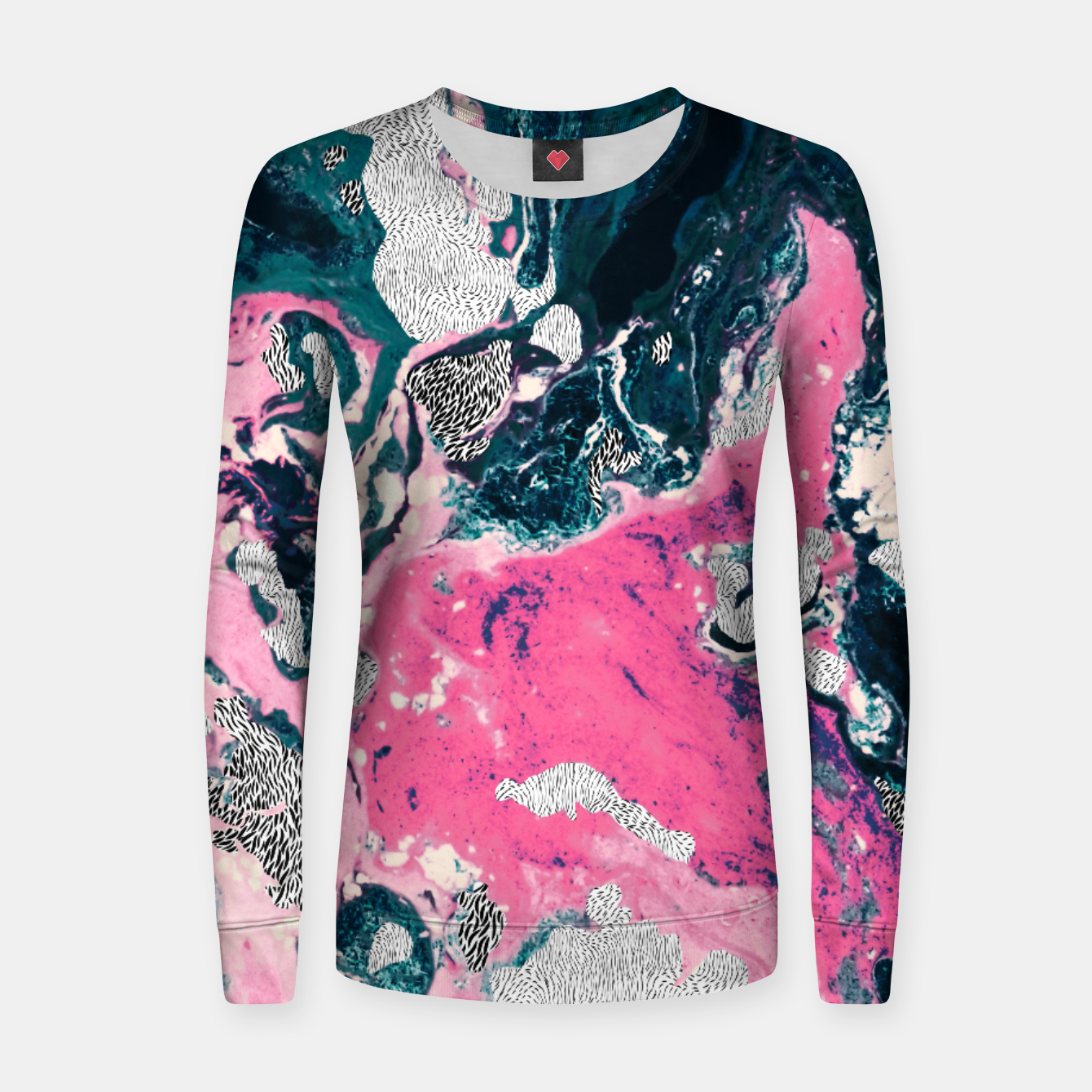 Image of Marble mosaic with patterned patterns 02 Sudadera de algodón para mujer - Live Heroes