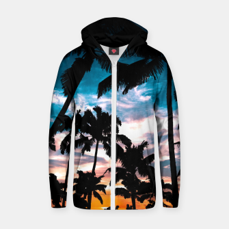 Miniaturka Palm trees summer dream Cotton zip up hoodie, Live Heroes