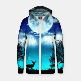Miniaturka Dreamy night into the forest Cotton zip up hoodie, Live Heroes