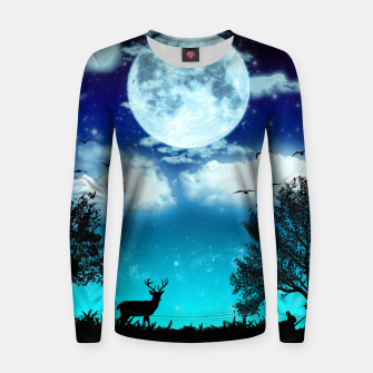 Miniaturka Dreamy night into the forest Woman cotton sweater, Live Heroes