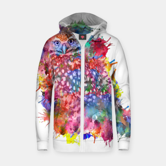 Thumbnail image of Rainbow owl Cotton zip up hoodie, Live Heroes